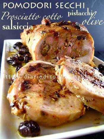 ricetta,ricette,cucina,foto,coniglio,pistacchi,olive,salsiccia,pomodori secchi